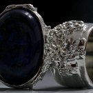 Arty Oval Ring Metallic Blue Gold Black Silver Chunky Knuckle Art Avant Garde Statement Size 8