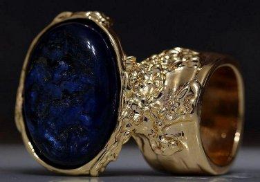 Arty Oval Ring Metallic Blue Black Gold Chunky Knuckle Art Avant Garde Statement Jewelry Size 5.5