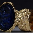 Arty Oval Ring Metallic Blue Black Gold Chunky Knuckle Art Avant Garde Statement Jewelry Size 8.5