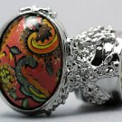 Arty Oval Ring Paisley Glitter Orange Multi Vintage Silver Armor Knuckle Art Statement Size 10