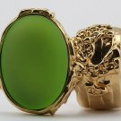 Arty Oval Ring Lime Glow Gold Chunky Jewelry Armor Knuckle Art Statement Deco Avant Garde Size 4.5