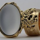 Arty Oval Ring Pearl White Glow Gold Chunky Jewelry Armor Artsy Knuckle Art Statement Size 6