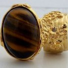 Arty Oval Ring Tiger's Eye Gold Artsy Chunky Knuckle Art Gemstone Avant Garde Statement Size 4.5