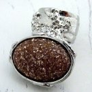 Arty Oval Ring Brown Peach Gold Glitter Silver Artsy Chunky Deco Knuckle Art Statement Size 8.5