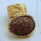 Arty Oval Ring Brown Peach Glitter Gold Artsy Chunky Deco Knuckle Art Fashion Statement Size 8