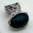 Arty Oval Ring Green Vintage Italian Glass Silver Artsy Chunky Deco Knuckle Art Statement Size 8