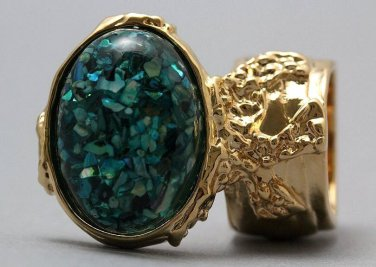 Arty Oval Ring Turquoise Mosaic Shell Gold Artsy Designer Chunky Knuckle Art Statement Size 6