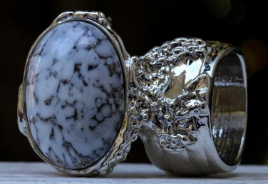 Arty Oval Ring White Marble Glass Gray Black Silver Artsy Chunky Deco Knuckle Art Statement Size 8.5