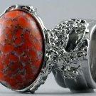 Arty Oval Ring Coral Matrix Glass Silver Artsy Designer Chunky Deco Knuckle Art Statement Size 8