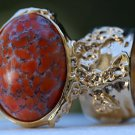 Arty Oval Ring Coral Matrix Glass Gold Artsy Designer Chunky Deco Knuckle Art Statement Size 5.5