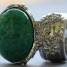 Arty Oval Ring Jade Green Glass Silver Artsy Designer Chunky Deco Knuckle Art Statement Size 10