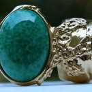 Arty Oval Ring Jade Green Glass Gold Artsy Designer Chunky Deco Knuckle Art Statement Size 6