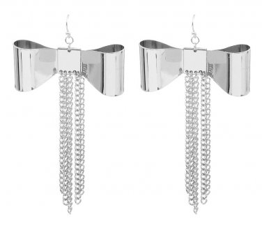 Bow Drop Tassel Earrings with Fringe Chains Large Ribbon Chain Silver Designer Fashion Statement