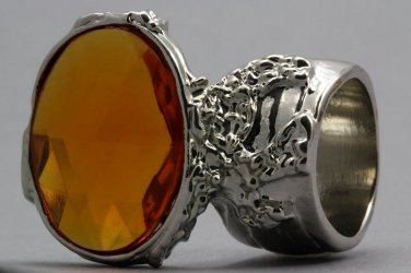 Arty Oval Ring Topaz Vintage Faceted Silver Designer Chunky Deco Knuckle Art Statement Size 5