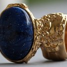 Arty Oval Ring Cosmic Blue Midnight Sky Gold Chunky Artsy Armor Knuckle Art Statement Size 4.5