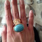Arty Oval Ring Turquoise Vintage Glass Gold Designer Knuckle Art Chunky Armor Statement Size 5.5