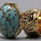 Arty Oval Ring Turquoise Vintage Glass Gold Designer Chunky Knuckle Art Statement Size 4.5