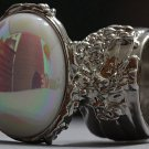 Arty Oval Ring Pearly White Aurora Borealis Vintage Glass Silver Chunky Knuckle Statement Size 5
