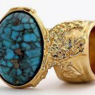 Arty Oval Ring Turquoise Vintage Chunky Gold Artsy Armor Knuckle Art Statement Jewelry Size 4.5