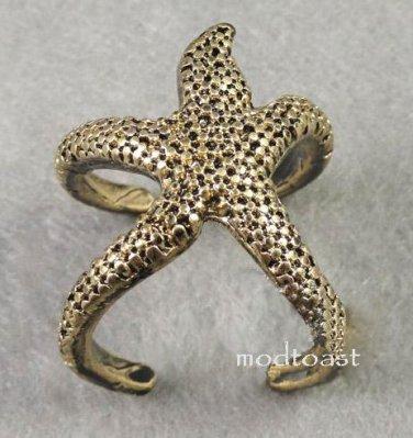 Starfish Wrap Ring Ocean Jewelry Beach Mermaid Nautical Antique Gold Statement Size 7 7.5
