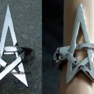 Pentagram Pentacle Bracelet & Ring Set Silver Openwork Wicca Wiccan Pagan Witch Punk Gothic Goth