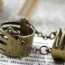 Chain Link Midi Ring Bohemian Indie Tribal Boho Antique Vintage Brass Cage Armor Chains Size 7.5