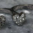 Two Finger Heart Ring Antique Silver Boho Indie Double Connector Crystals Size 6 Size 7