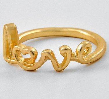 Script Love Ring Matte Gold Text Written Word Gift Heart Designer Celebrity Style Jewelry