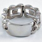 ID Tag Ring Silver Rectangle Bar Designer Celebrity Style Curb Chain Link Band Armor Stretch