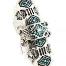 Shield Knuckle Ring Turquoise Beads Silver Armor Abstract Crystals Statement Boho Indie Tribal 6-8