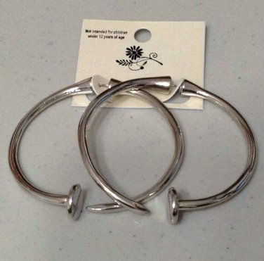 Nail Hoop Earrings Oversized Edgy Avant Garde Punk Metal Silver Jewelry Statement