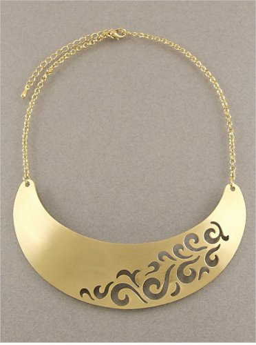 Scroll Design Openwork Bib Collar Necklace Matte Gold Chain Armor Choker Designer Style