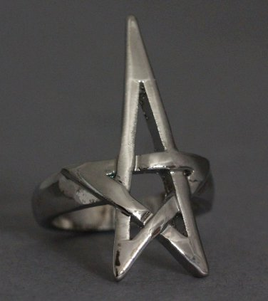 Pentagram Pentacle Ring Silver Openwork Wicca Wiccan Pagan Witch Punk Gothic Goth Avant Garde Size 6