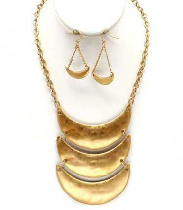 Cresent Moon Shapes Necklace & Earrings Set Bib Style Layered Disks Matte Gold Chain