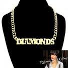 "Rihanna Inspired ""Diamonds"" Necklace & Earrings Set Pendant Statement Gold Celebrity Style"