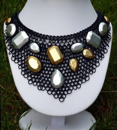 Triangle Black Chain Bib Necklace Choker Faceted Gems Matte Silver Gold