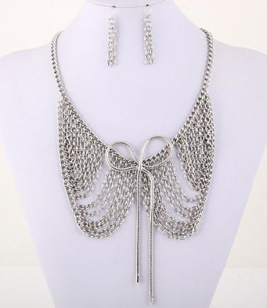 Peter Pan Collar Necklace and Earrings Set Bow Multi Layered Draping Chains Silver Statement