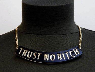 Trust No Bitch Urban Hip Hop Necklace Earrings Black Gold Statement Pendant Celebrity Designer Style