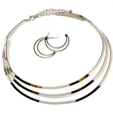 Mirrored Designer Style Necklace & Earrings Set Metal Collar Choker Tribal Silver Statement