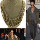 Web Chain Necklace Statement Gold Tribal Chunky Webbed Chain Rihanna Celebrity Designer Style