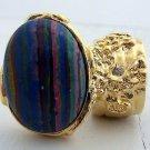 Arty Oval Ring Rainbow Calsilica Gold Knuckle Art Chunky Armor Deco Avant Garde Statement Size 5.5