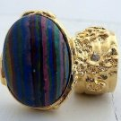 Arty Oval Ring Rainbow Calsilica Gold Knuckle Art Chunky Armor Deco Avant Garde Statement Size 10