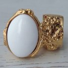 Arty Oval Ring White Gold Knuckle Art Chunky Artsy Armor Avant Garde Jewelry Statement Size 4.5