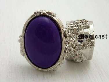 Arty Oval Ring Purple Silver Knuckle Art Chunky Artsy Armor Avant Garde Jewelry Statement Size 8.5