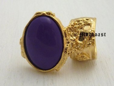 Arty Oval Ring Purple Gold Knuckle Art Chunky Artsy Armor Avant Garde Jewelry Statement Size 8
