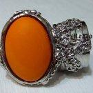 Arty Oval Ring Orange Silver Knuckle Art Chunky Artsy Armor Avant Garde Jewelry Statement Size 6