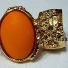 Arty Oval Ring Orange Gold Knuckle Art Chunky Artsy Armor Avant Garde Jewelry Statement Size 4.5
