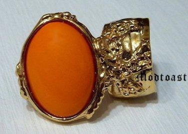 Arty Oval Ring Orange Gold Knuckle Art Chunky Artsy Armor Avant Garde Jewelry Statement Size 5.5