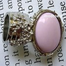 Arty Oval Ring Pastel Pink Silver Knuckle Art Chunky Artsy Armor Avant Garde Statement Size 8