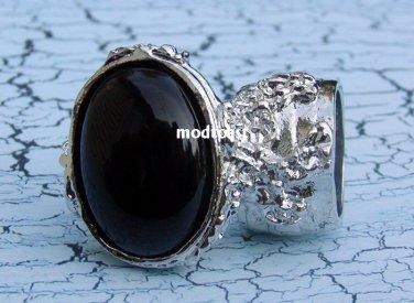 Arty Oval Ring Black Silver Knuckle Art Chunky Artsy Armor Avant Garde Jewelry Statement Size 10